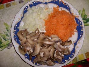 овощи и грибы для постного супа из чечевицы