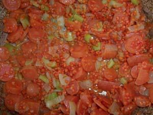 заправка для супа пюре из красной чечевицы фото