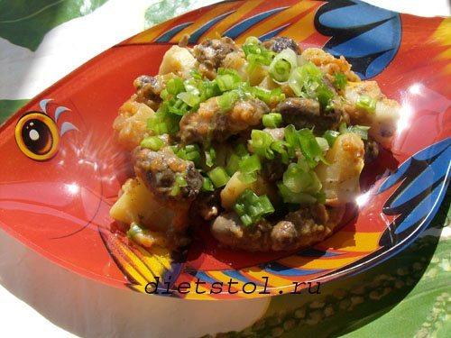 тушеный картофель с куриными сердечками и зеленым луком фото