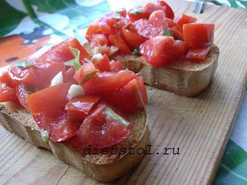 брускетта с помидорами быстрая закуска фото