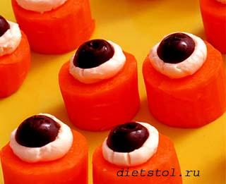 детские рецепты на Хэллоуин морковные глаза