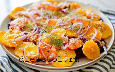 простой салат из свеклы с апельсинами  фото