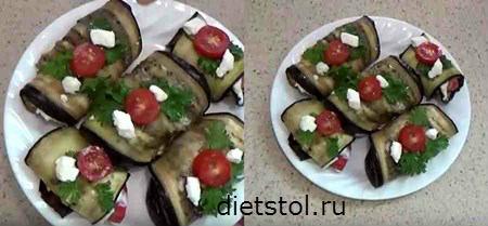 рулетики из баклажанов с помидорами и чесноком - фото