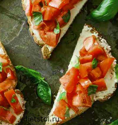 тосты с помидорами и сыром - кулинарный рецепт