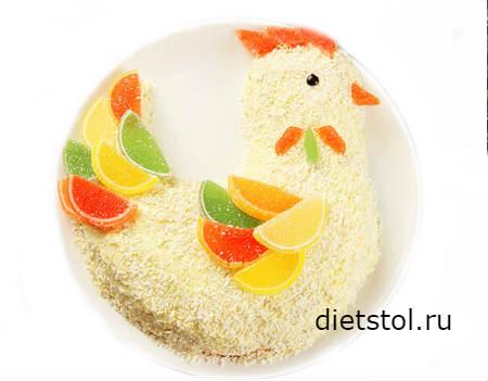 торт в виде петуха на детский праздник фото
