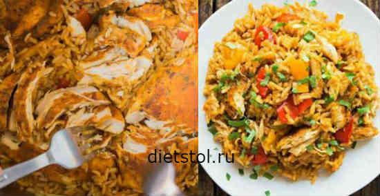 Как приготовить рис с курицей в духовке фото