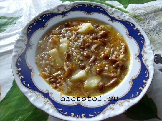 грибной суп с опятами и гречкой фото