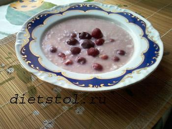 суп молочный рисовый с вишней