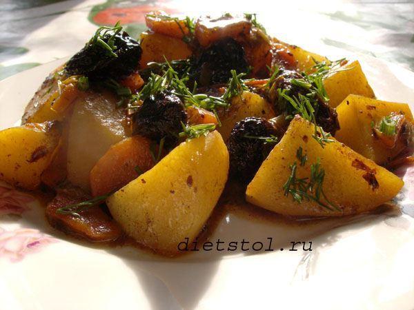 картофель тушеный с черносливом для постного стола