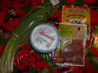 ингредиенты для закуски из зеленого лука фото