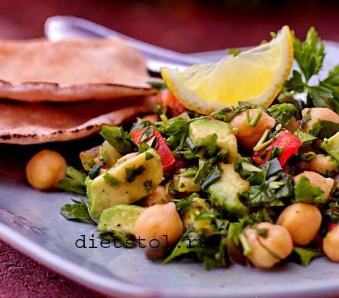 салат с нутом , авокадо и зеленью фото
