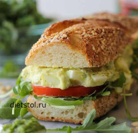 Фото Рецепт сэндвича с яйцами и соусом песто - рецепт и приготовление