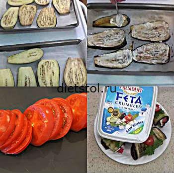 рулетики из баклажанов с помидорами и чесноком - приготовление фото