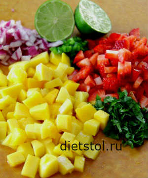 Фруктовая сальса с манго ингредиенты