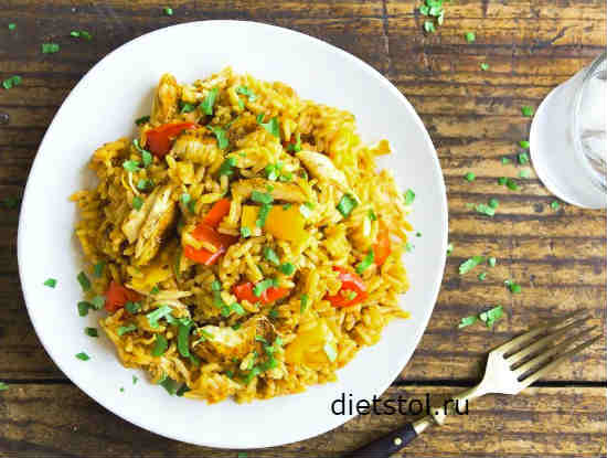 Курица с рисом в духовке фото