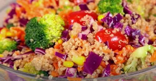 Радужный салат с киноа рецепт